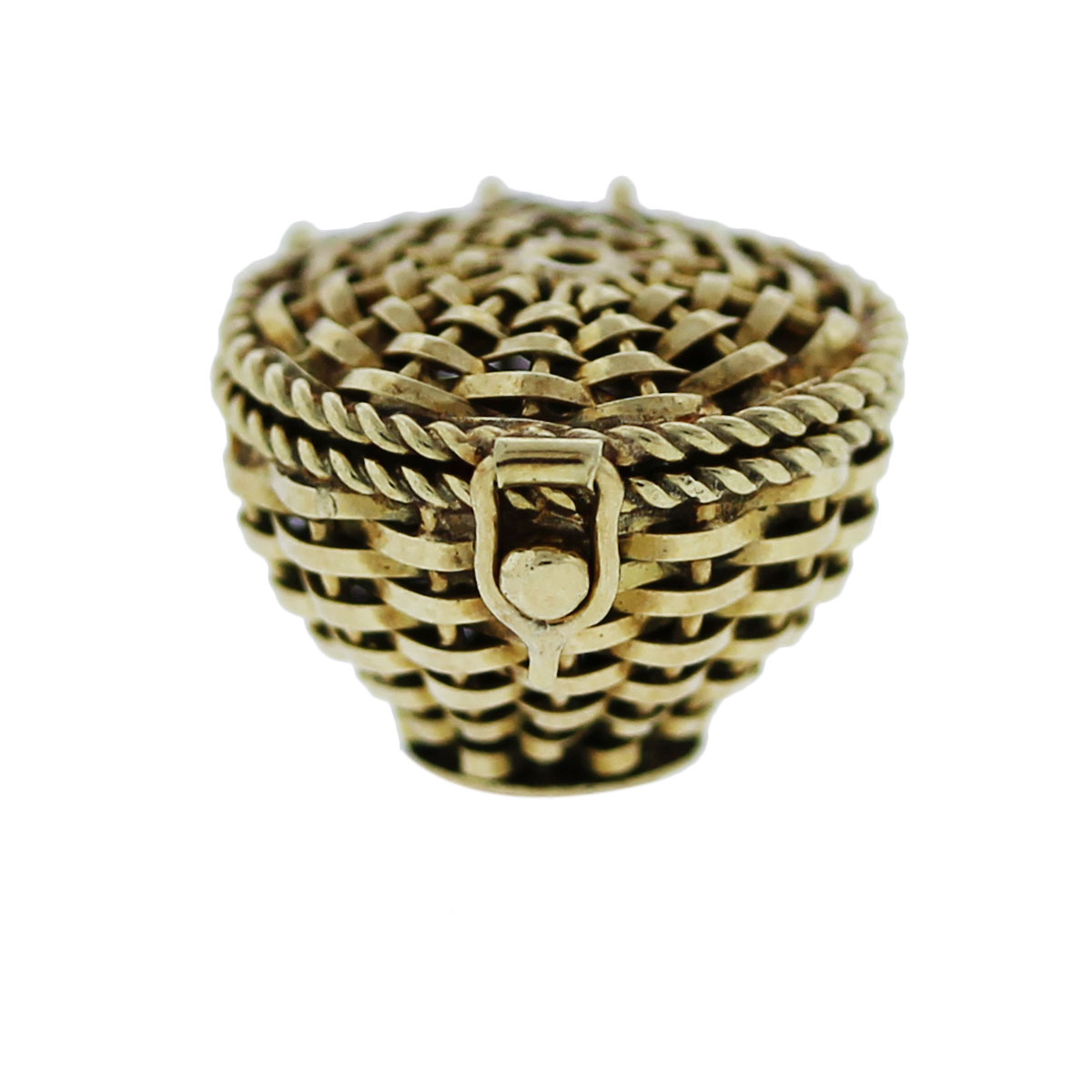 Yellow Gold Snake in a Basket Pendant