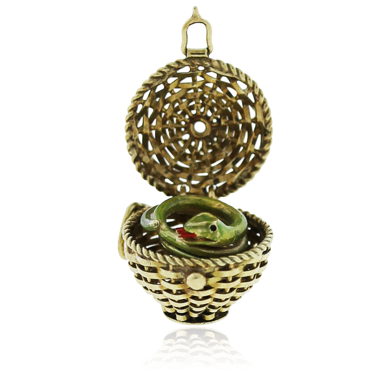 You are viewing this Yellow Gold Snake and Basket Pendant!