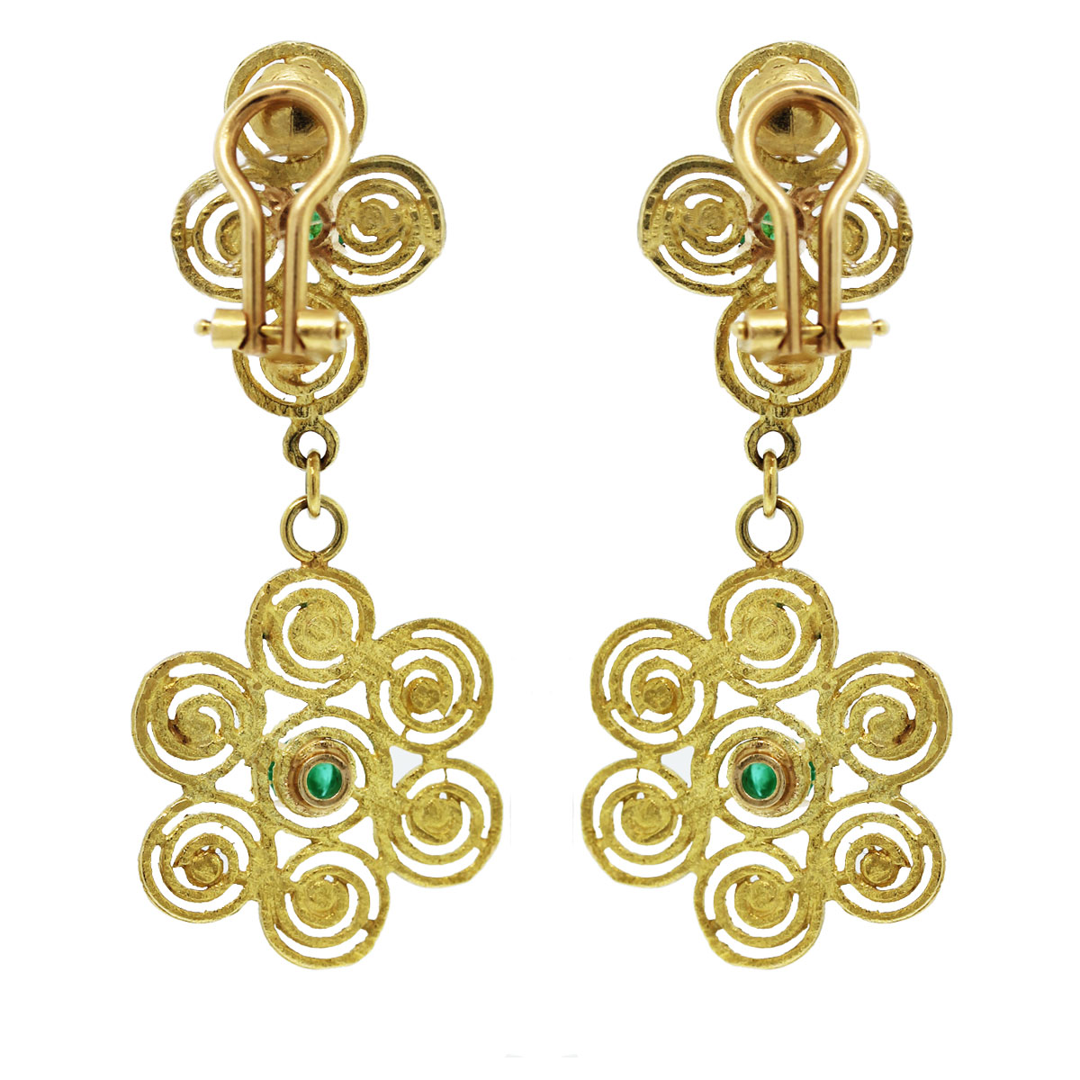 Check out these 14kt Hammered Gold Spiral Floral Emerald Cabochon Dangle Earrings