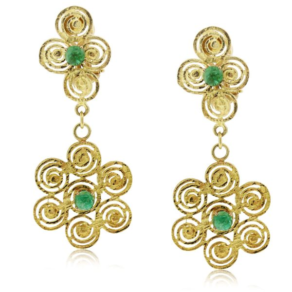 These 14kt Hammered Gold Spiral Floral Emerald Cabochon Dangle Earrings are beautiful!