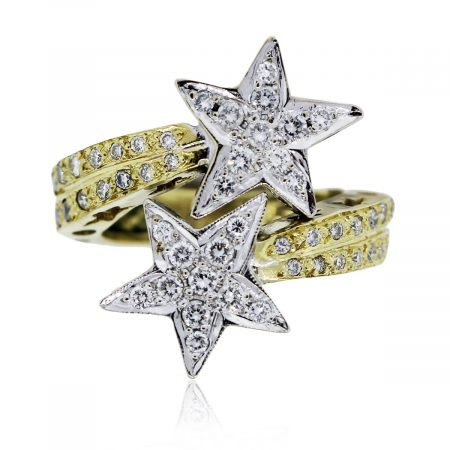 You are viewing this 18k Two Tone Diamond Star Ring!