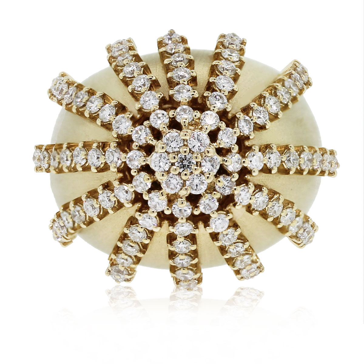 This 14kt Yellow Gold Satin Finish Diamond Starburst Ring is beautiful!