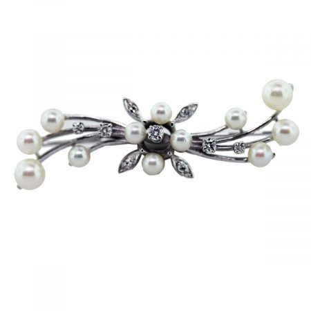 You are viewing this 14k White Gold, Diamond and Pearl Pin!