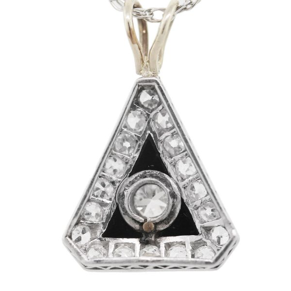 Vintage Diamond, Onyx 14k White Gold Pendant and Chain Necklace