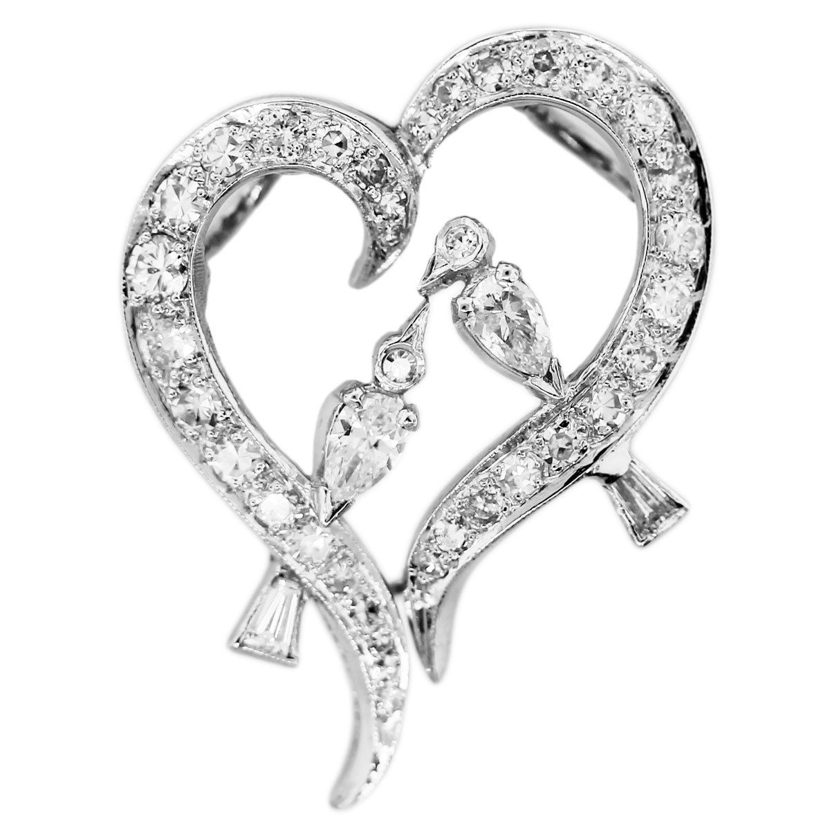 You are viewing this Love Birds 18k White Gold Diamond Heart Slide Pendant!