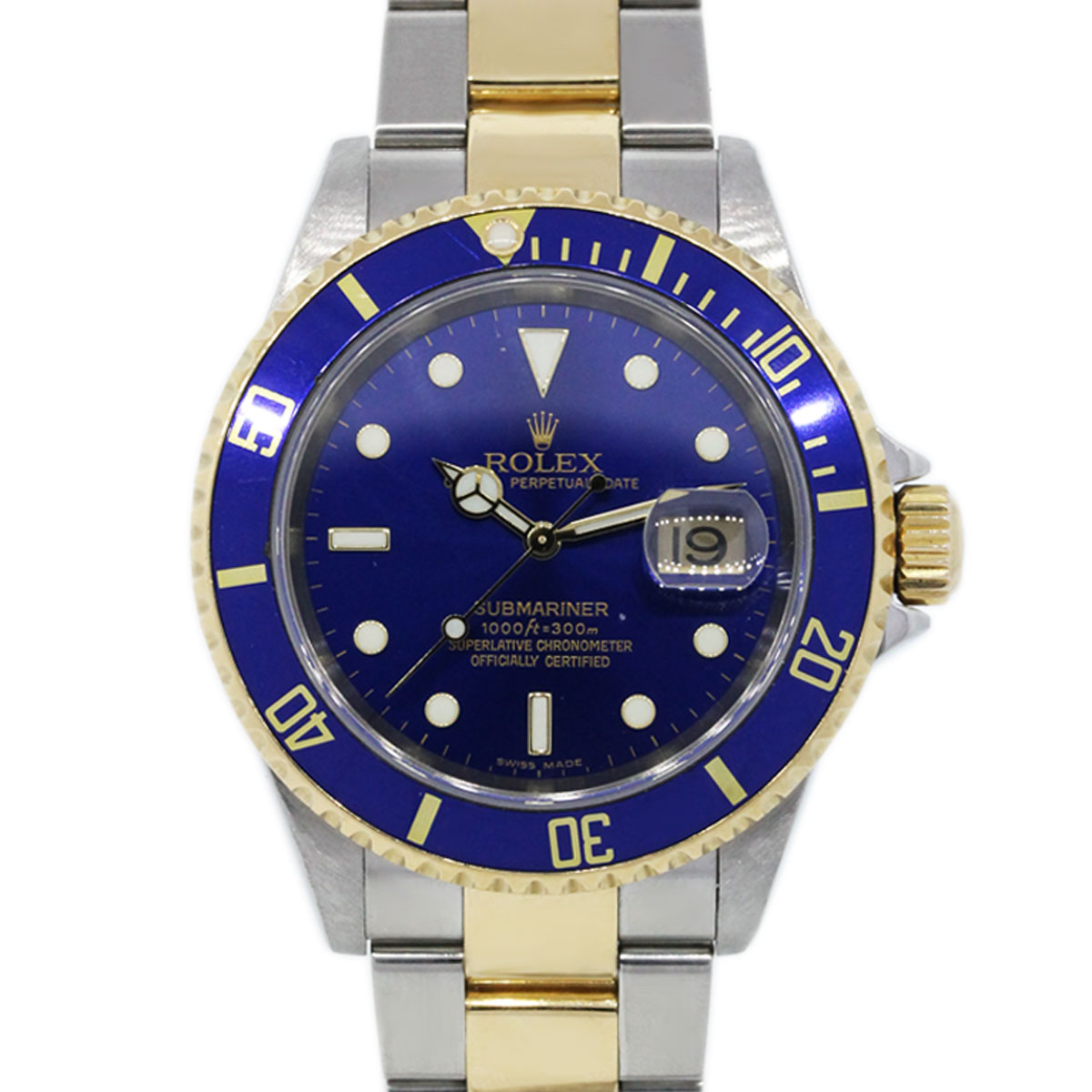 Rolex submariner 16613 two tone blue dial mens watch boca raton for Submariner rolex blue