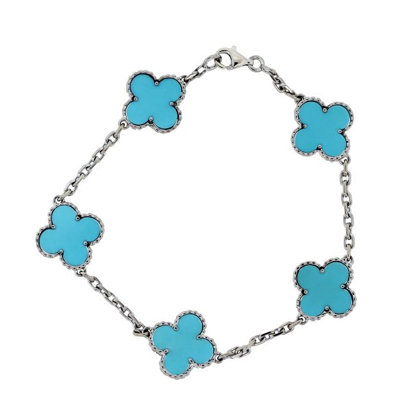 Van Cleef & Arpels White Gold With Turquoise Motifs Bracelet