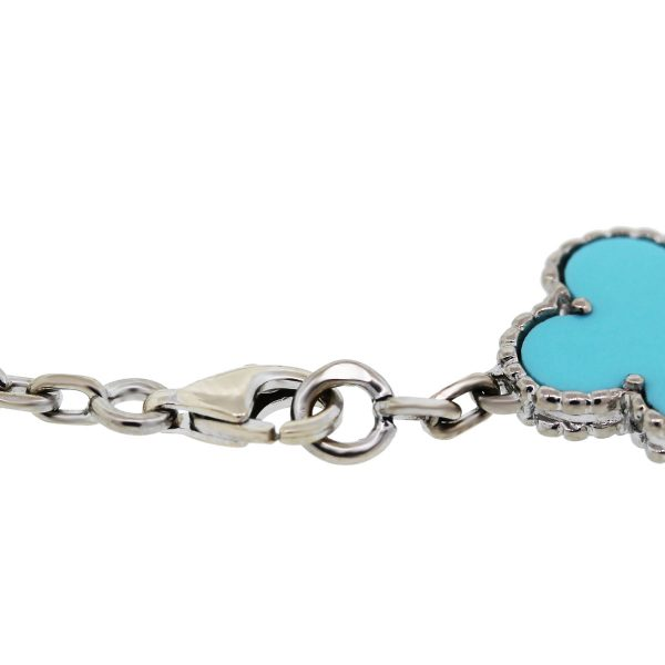 18k White Gold With Turquoise Motifs Bracelet