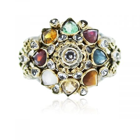 You are viewing this yellow gold vintage gemstone and diamond ring!