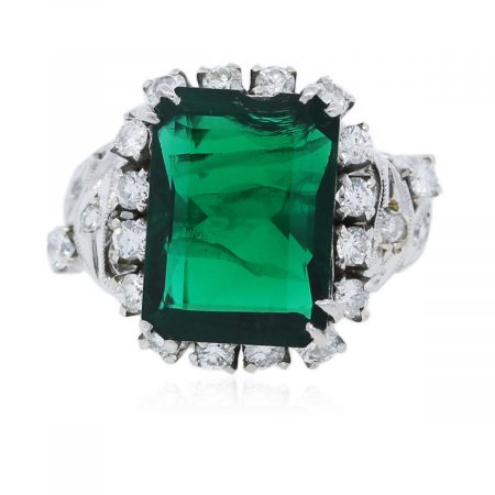 You are viewing this 14k White Gold With Diamonds And Chatham Emerald Ring!