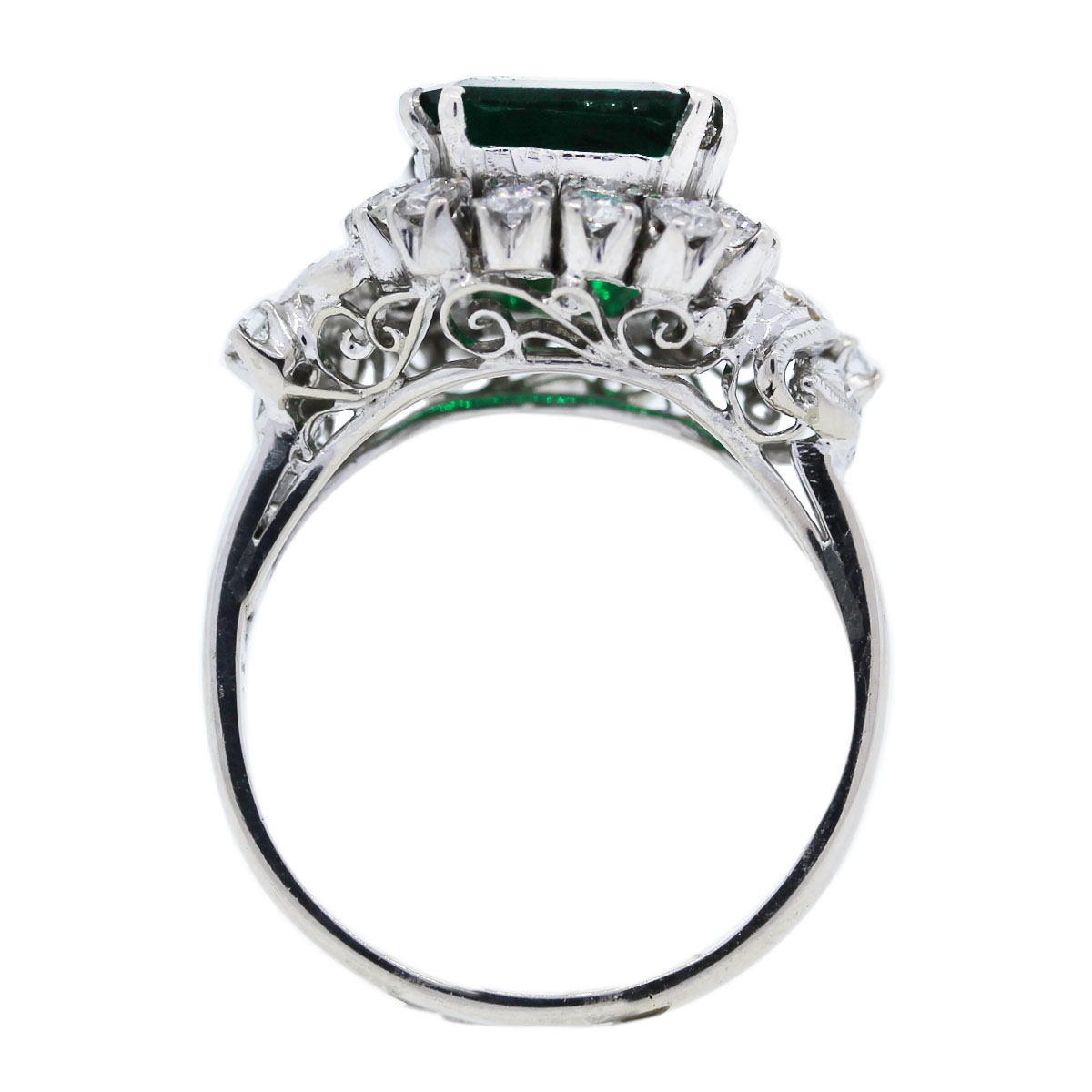 14k white gold with diamonds and chatham emerald ring