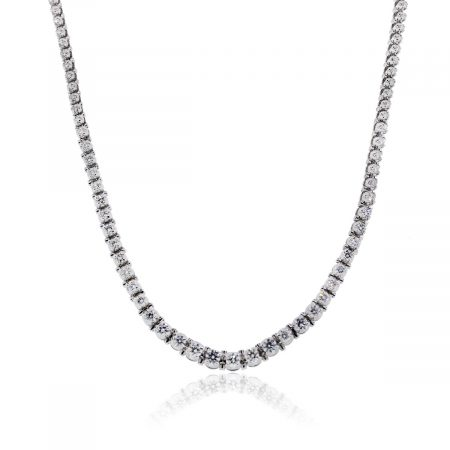 You are viewing this 14K White Gold Diamond Tennis Necklace!