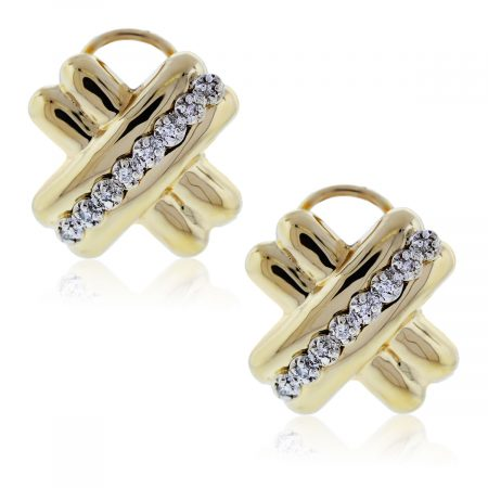 "You are viewing these Yellow Gold Diamond ""X"" Earrings!"