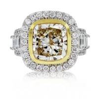 18kt Two Tone Fancy Yellow Cushion Cut Diamond Engagement Ring