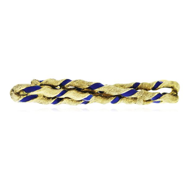 You are viewing this 14K Yellow Gold and Blue Enamel Stripe Tie Bar!