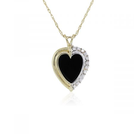 You are viewing this Two Tone Black Onyx and Diamond Pendant Necklace!