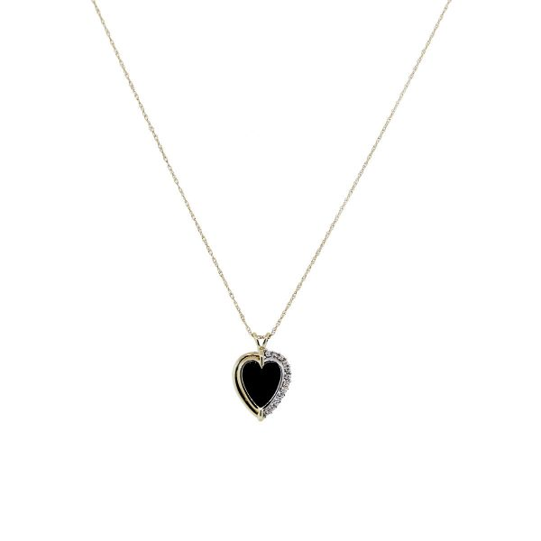Two Tone Onyx and Diamond Necklace