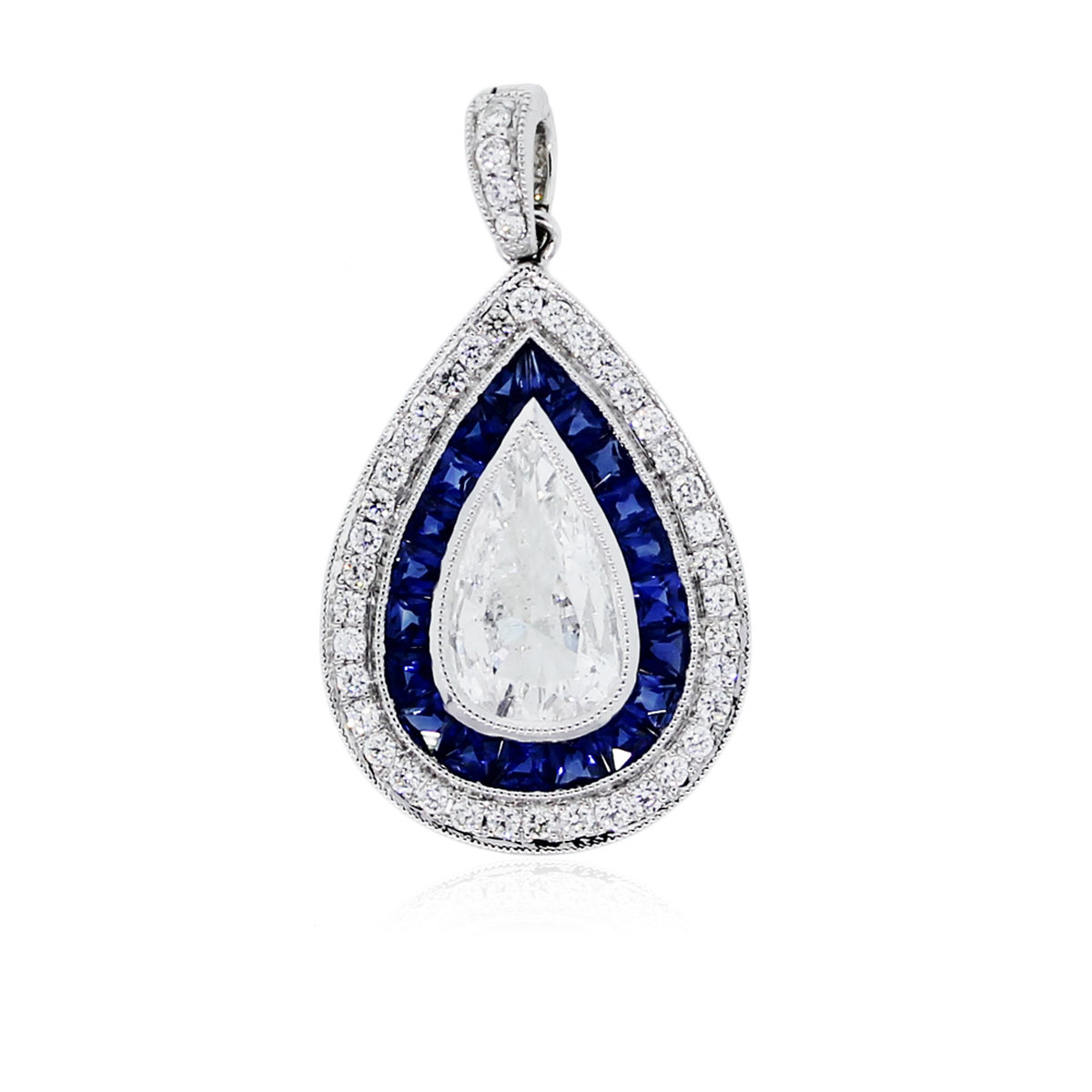 You are viewing this 1.32 Carat Pear Shape Diamond and Sapphire Pendant in Platinum!