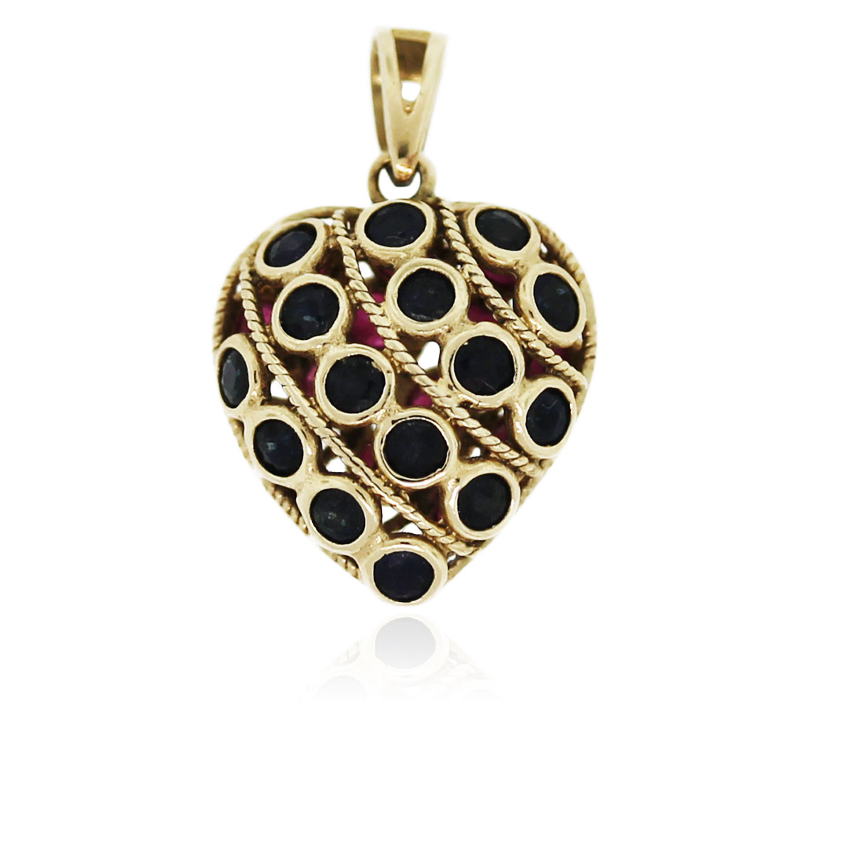 You are viewing this 14K Yellow Gold Sapphire and Ruby Heart Pendant!