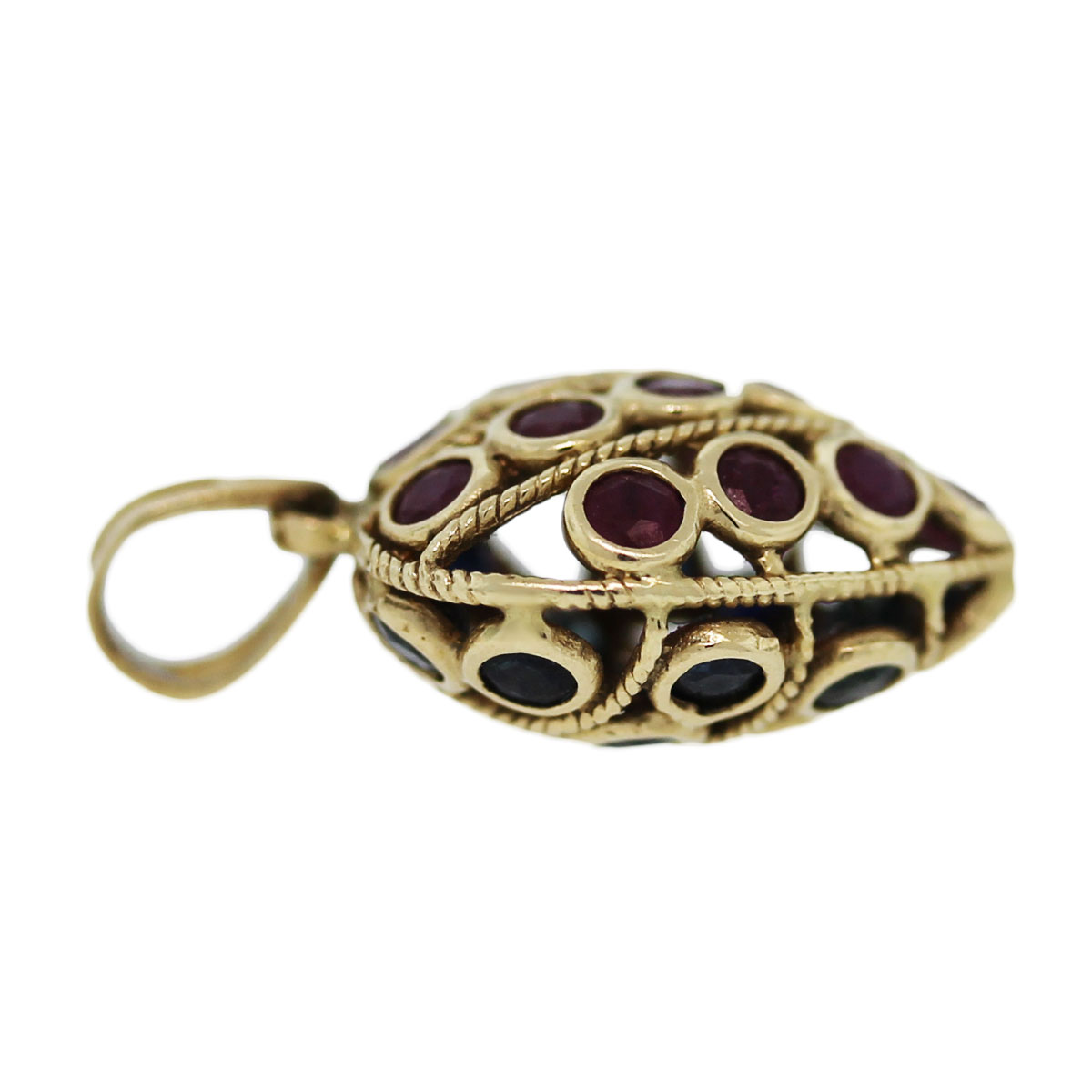 14k yellow gold sapphire and ruby pendant boca raton