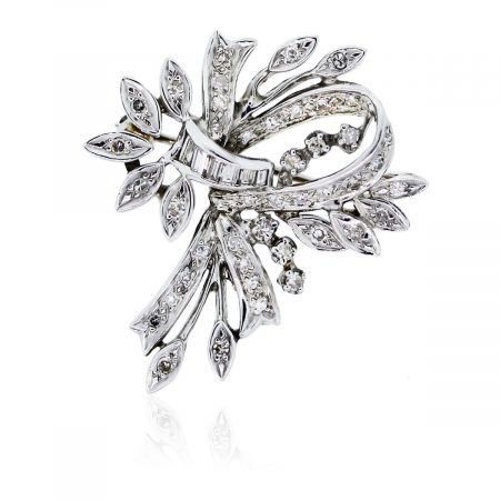 You are viewing this 14k White Gold With Diamonds Ribbon Pin!