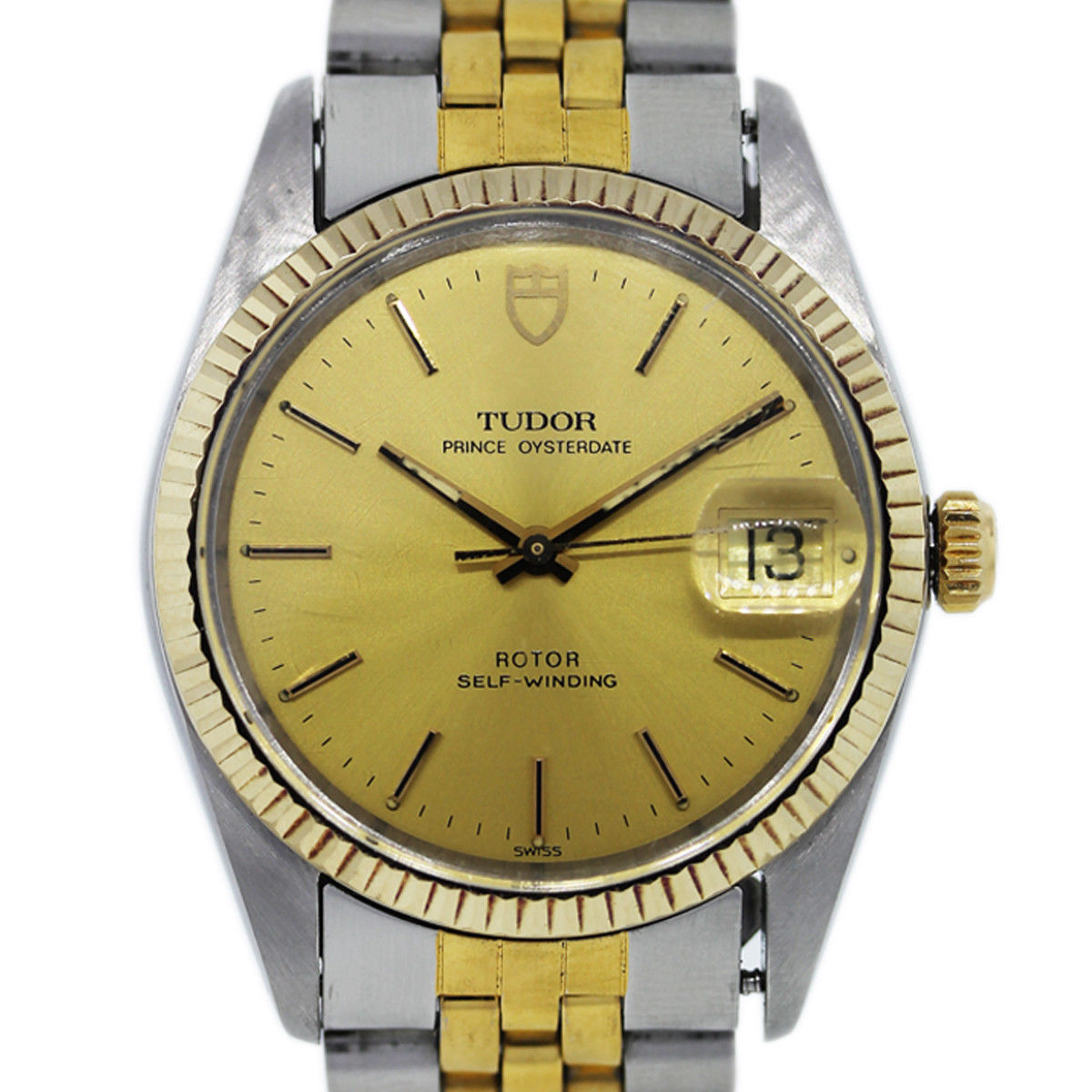 Rolex Tudor Oyster Date Prince 75203 Two Tone Mens Watch