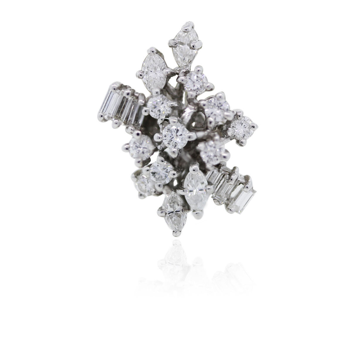 You are viewing this 18k White Gold and Diamond Cluster Cocktail Ring!