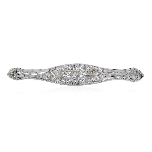 You are viewing this Platinum and White Diamond Vintage Pin!