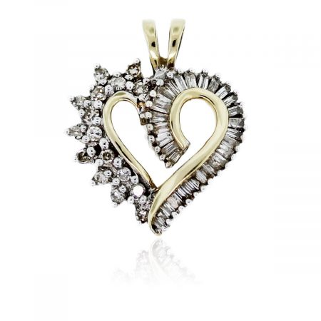 You are viewing this 10k Yellow Gold Diamond Heart Pendant!