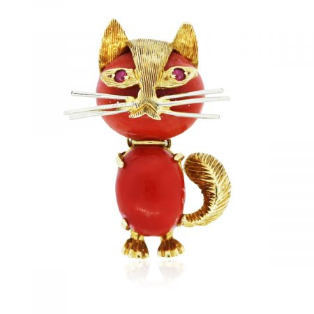 You are viewing this Vintage 18K Yellow Gold and Coral with Ruby Kitty Pin!