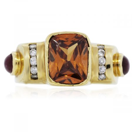 You are viewing this 18k Yellow Gold and Diamonds with Citrine Ruby Ring!