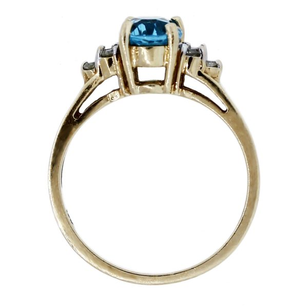 Yellow Gold Oval Shape Blue Topaz With Diamonds Ring