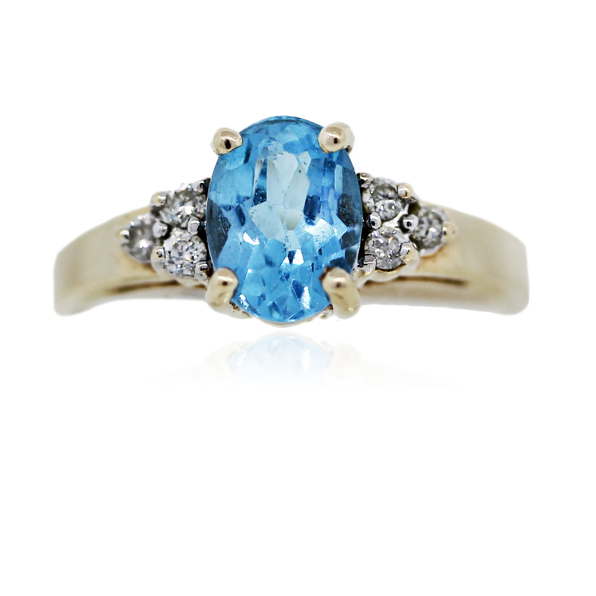 14k yellow gold oval shape blue topaz with diamonds ring