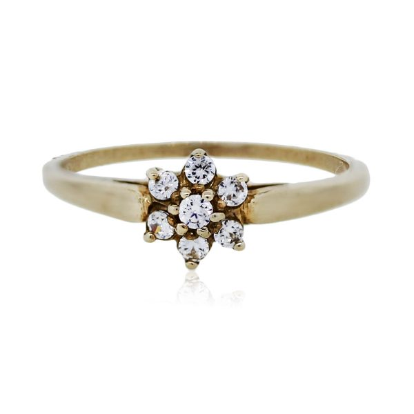 You are viewing this 10K Yellow Gold Flower Shape Diamond Ring!