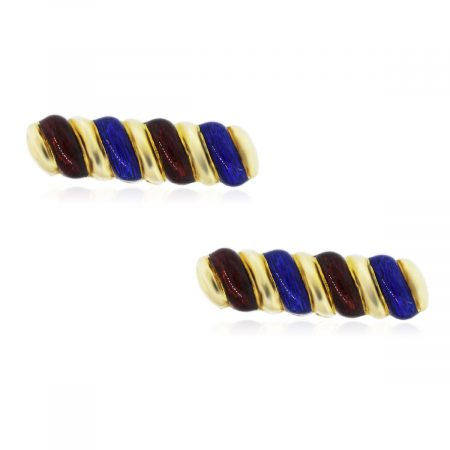 You are viewing these 18K Yellow Gold with Red and Blue Enamel Mens Cufflinks!