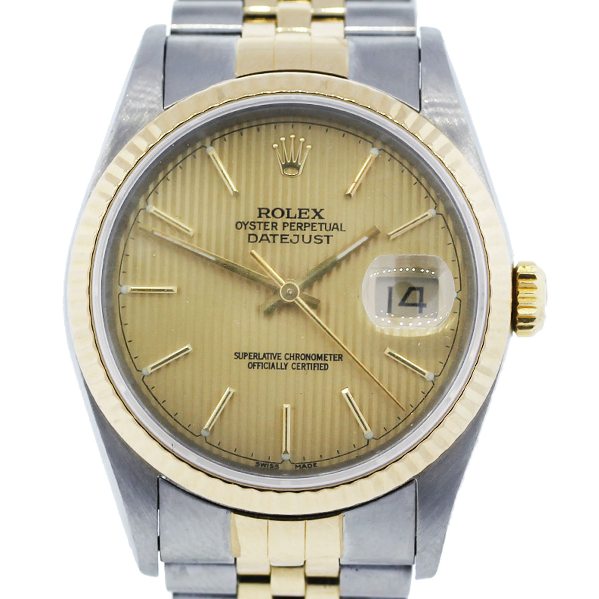You are viewing this Rolex Datejust 16233 TT Gold Pin Stripe Dial Jubilee Watch!