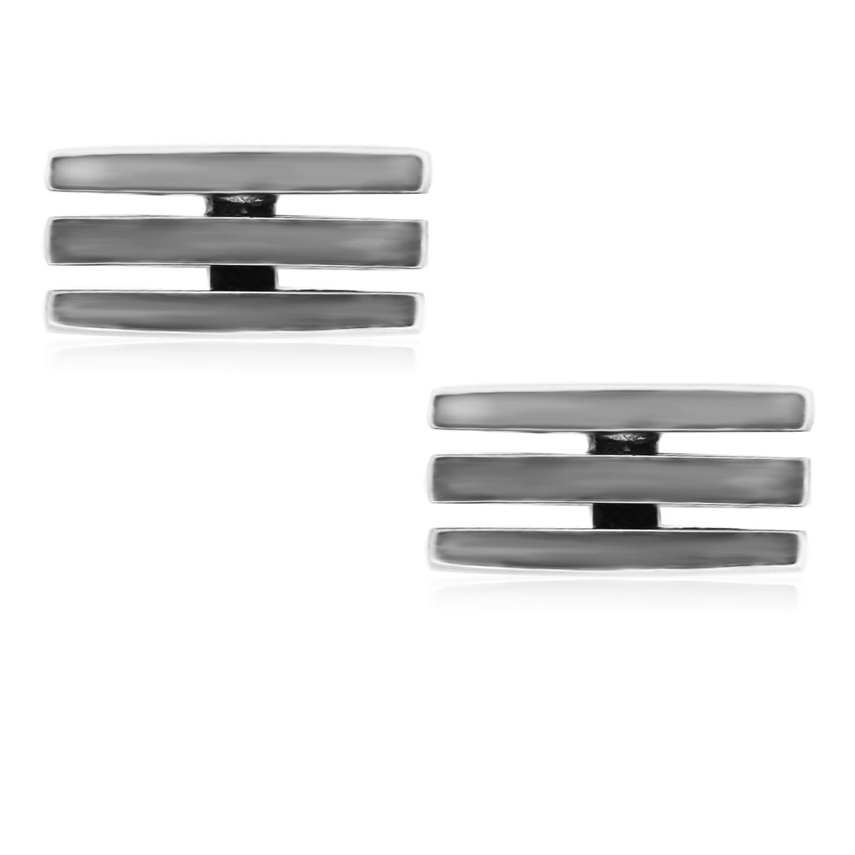 You are viewing these Sterling Silver 3 Row Gentleman's Cufflinks!