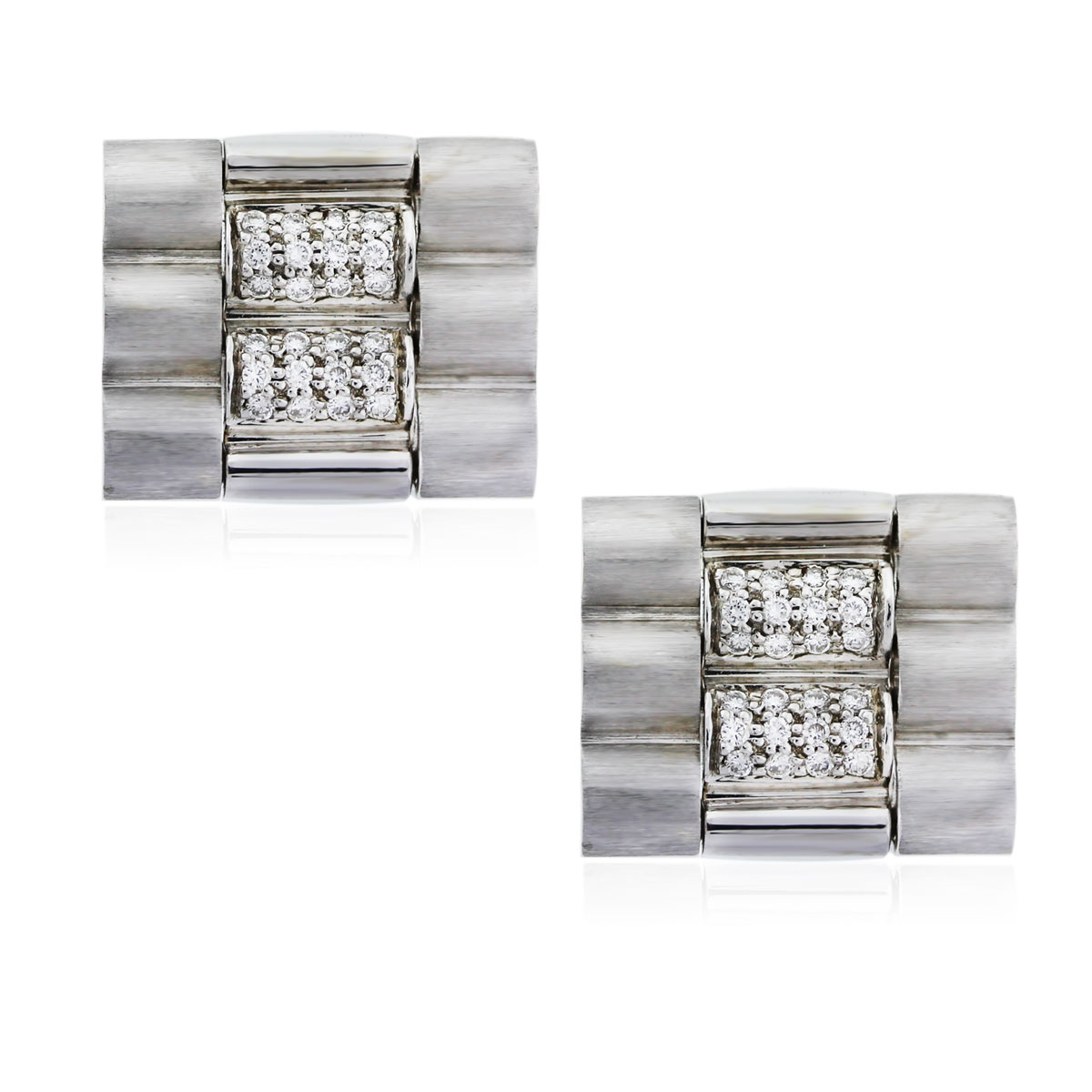 You are viewing these 14K White Gold and Diamond Mens Cufflinks!