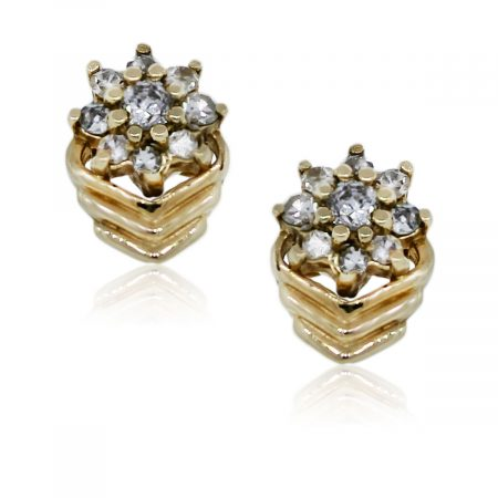 You are viewing these 14K Yellow Gold Diamond Flower Stud Earrings!