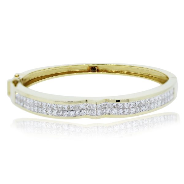 You are viewing this 18kt Yellow Gold Princess Cut Diamond Bangle Bracelet!