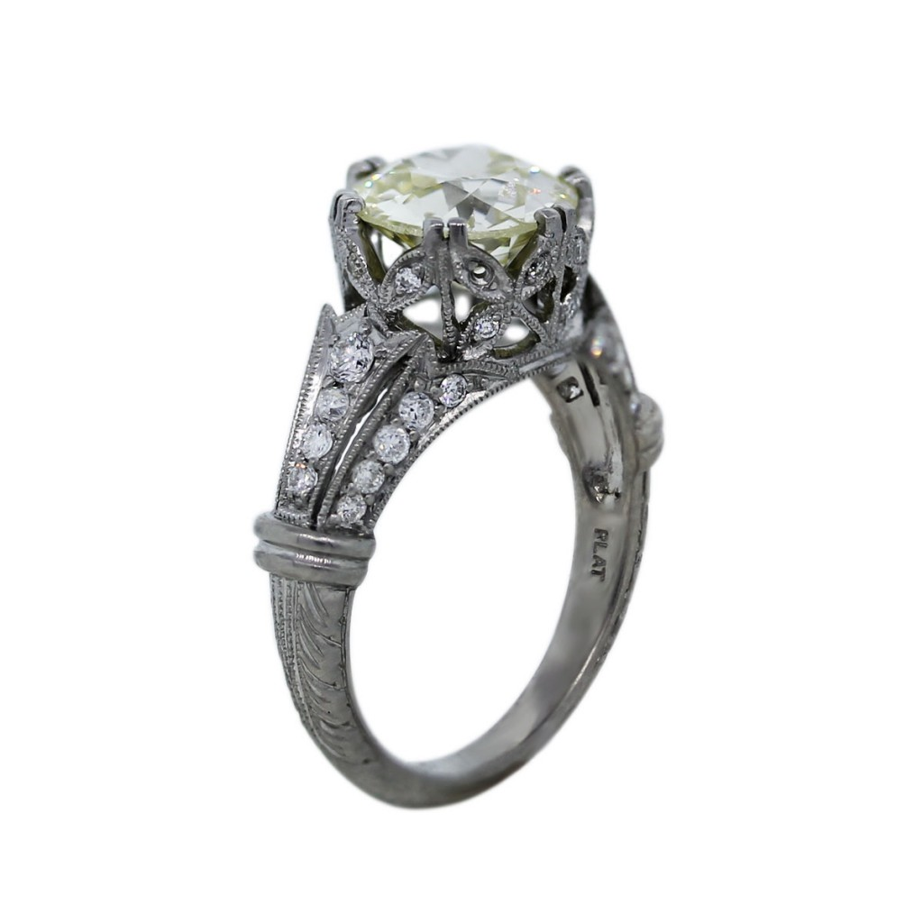 Platinum 2 45ct Old European Cut Diamond Vintage Style Engagement Ring