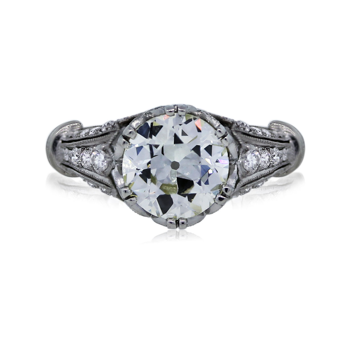 You Are Viewing This 245ct Old European Cut Diamond Engagement Ring! Vintage  Style Diamond Engagement Ring