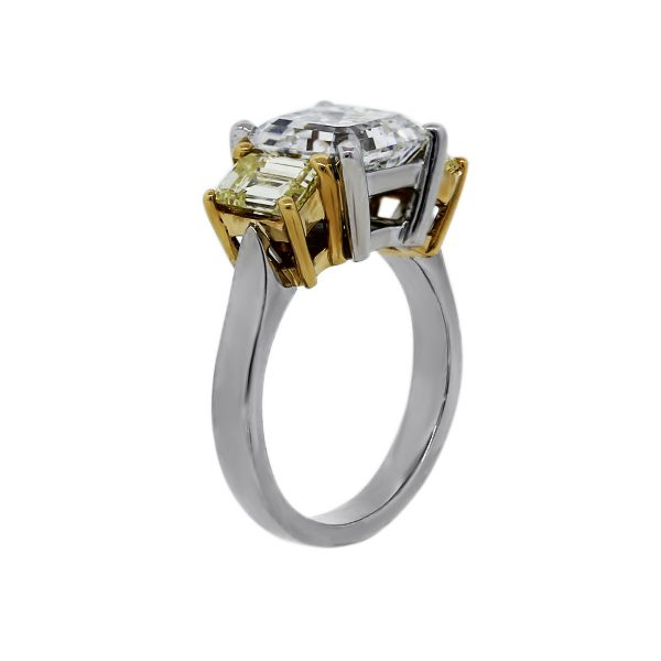 Fancy Yellow Diamond and Assher Cut Engagement Ring