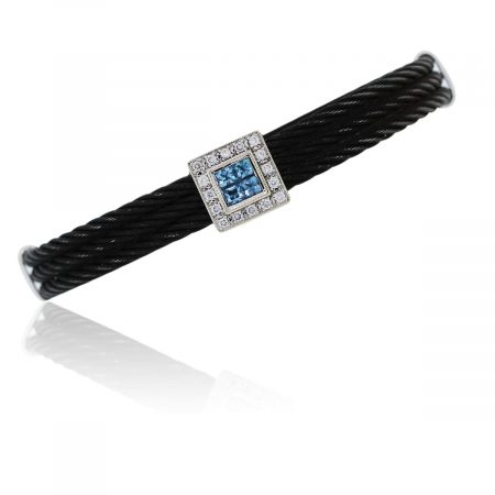 You are viewing this White Gold Black Cord Bracelet!