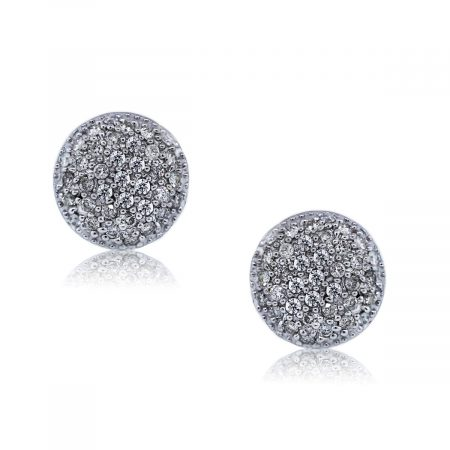 You are Viewing these White Gold Pave Set Diamond Button Earrings!