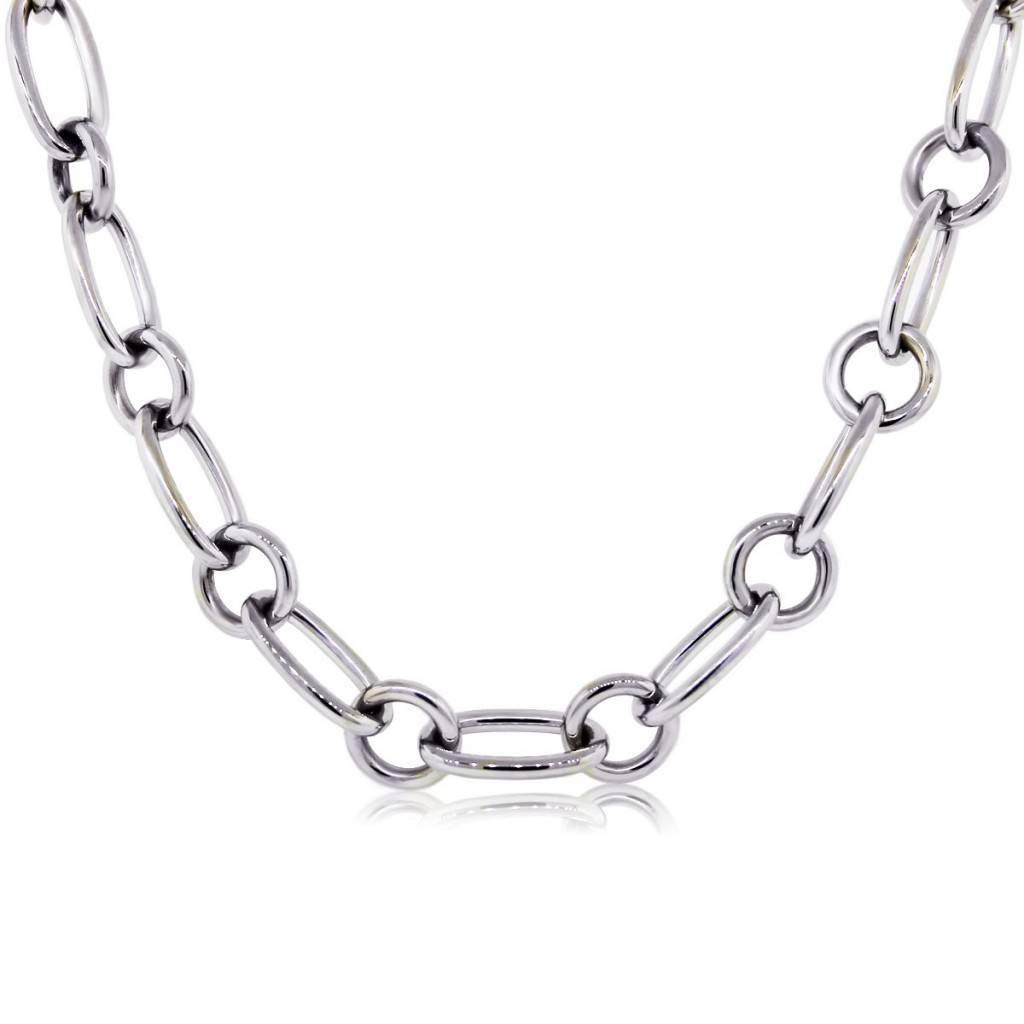 bd986dd6571 Tiffany   Co. 18k White Gold Chain Link Necklace - Boca Raton