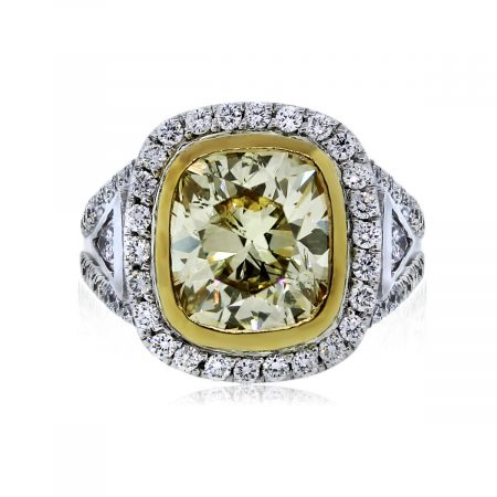 You are Viewing this 4.62ct Fancy Yellow Cushion Cut Diamond Engagement Ring!