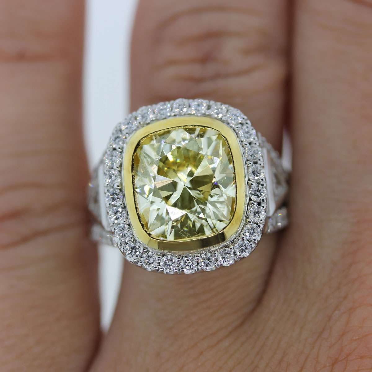 Cushion Cut Yellow Diamond Ring 18k Two Tone Engagement Ring