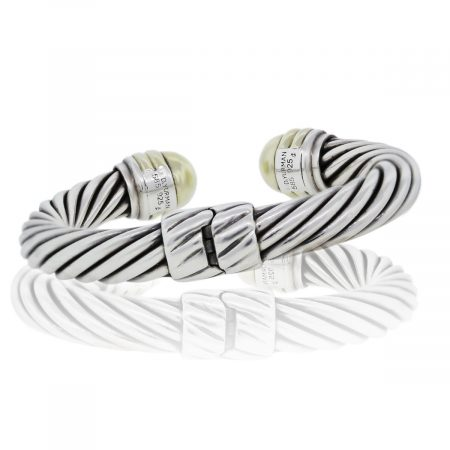 You are viewing this David Yurman Sterling Silver & 14k Yellow Gold Cable Bangle!