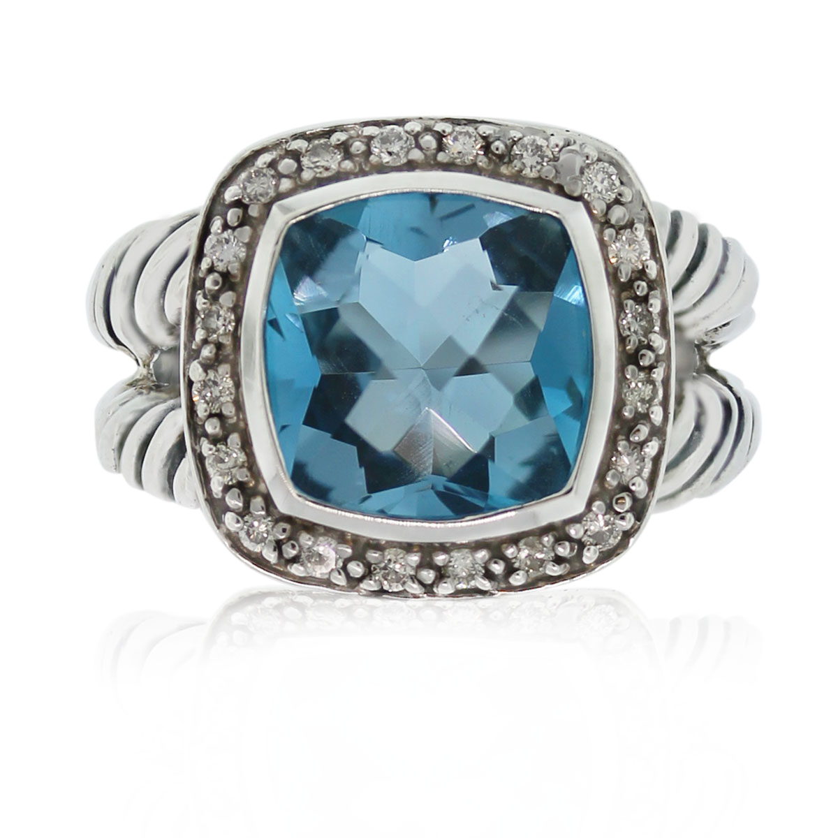 This David Yurman Albion Blue Topaz & Pave Diamond Split Shank Ring is gorgeous!